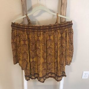 Yellow Boho Off the Shoulder Top